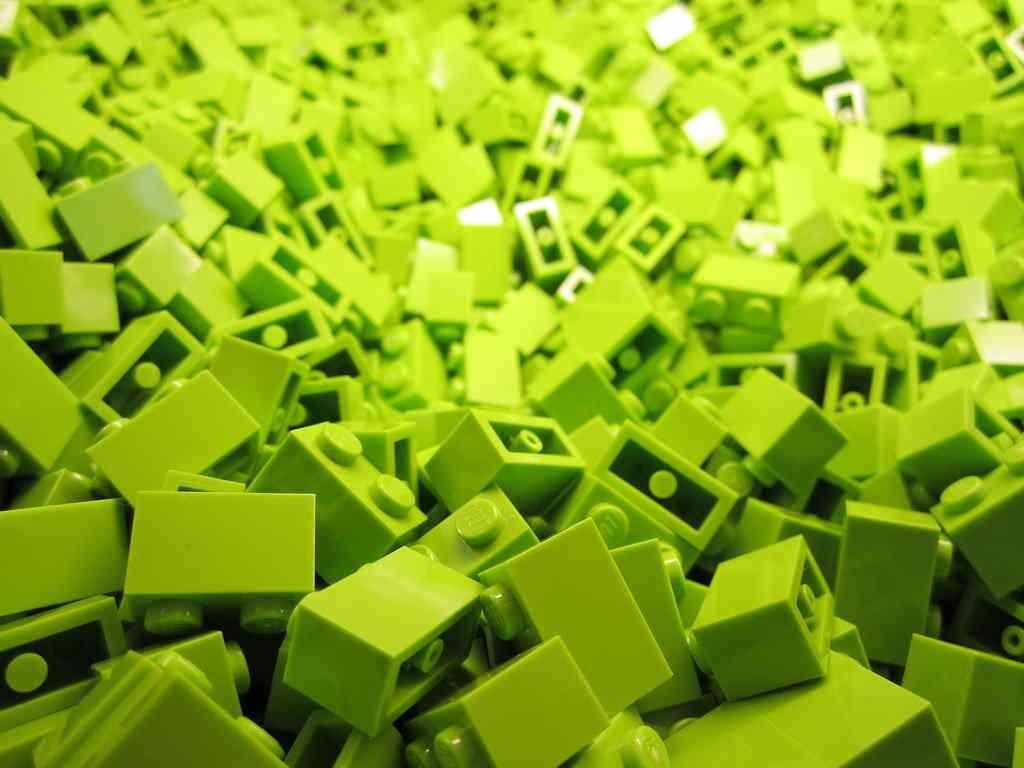 lego bricks green
