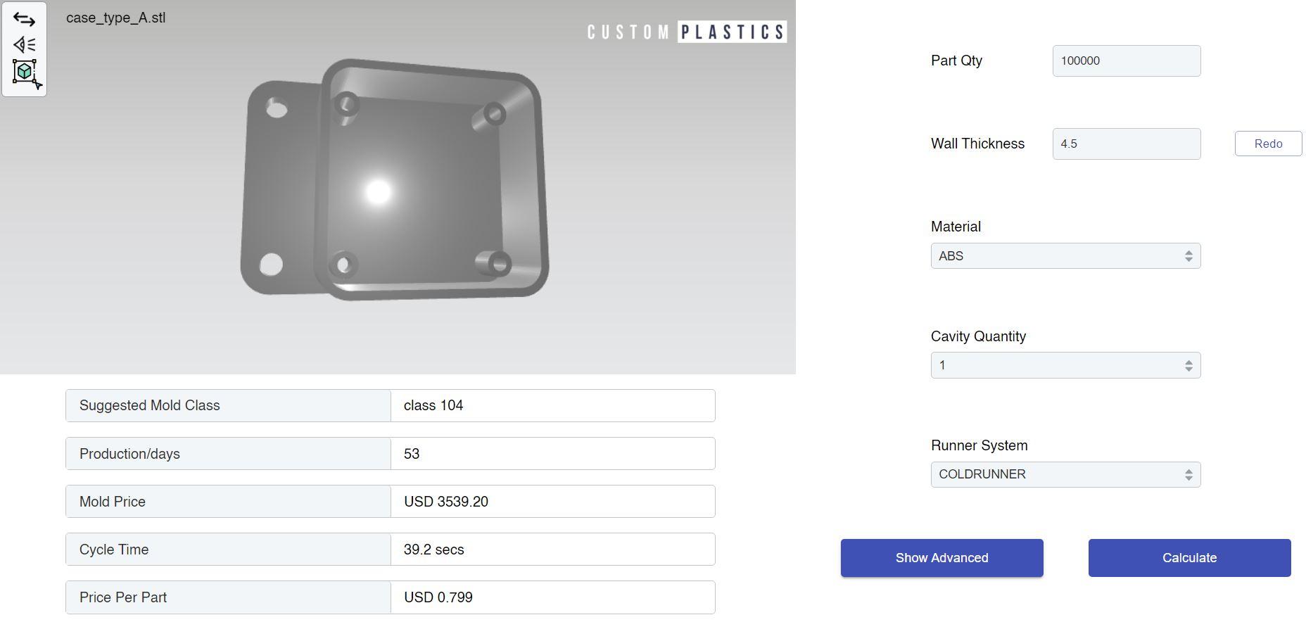 injection mold cost estimator